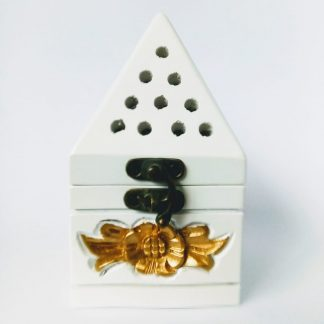 white gold incense burner