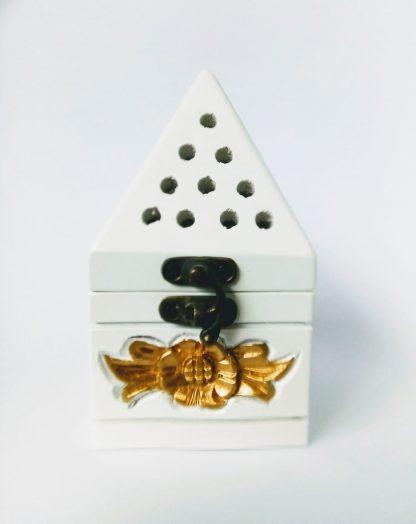 white gold incense burner
