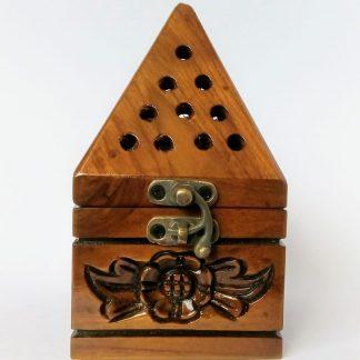 wooden pyramid incense burner